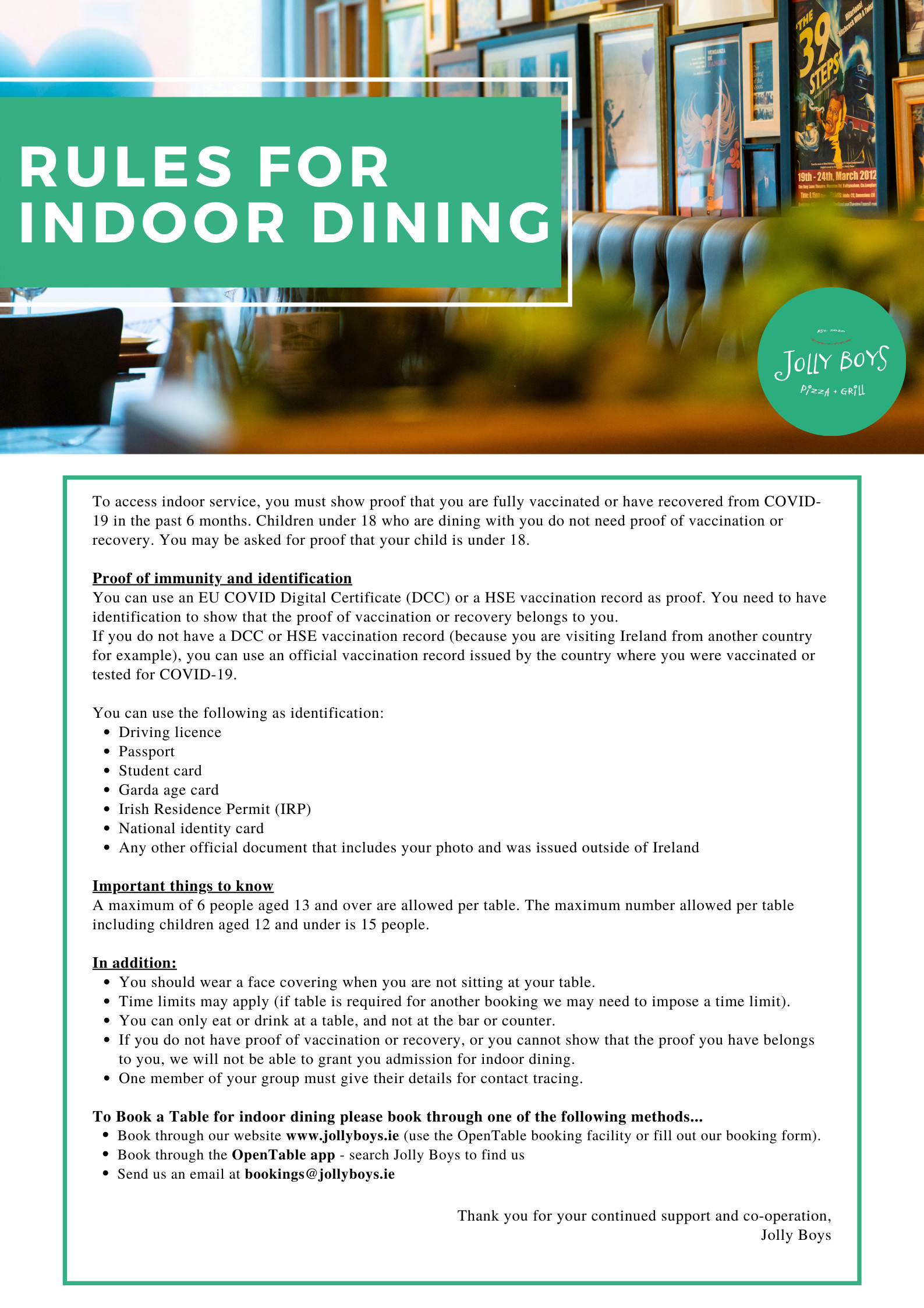 Indoor Dining Rules